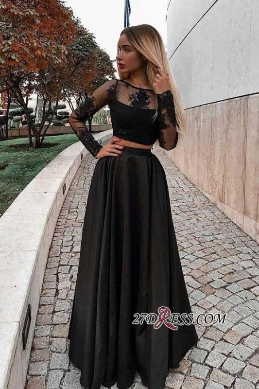 Two Pieces Long Lace Gorgeous Sleeves Black Evening Dresses
