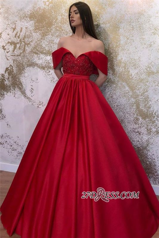 Off-the-shoulder Ruffles Beaded A-line Prom Dresses