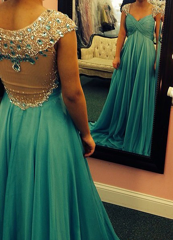 Glamorous Crystals Beadings A-line Prom Dress 2020 Cap Sleeve