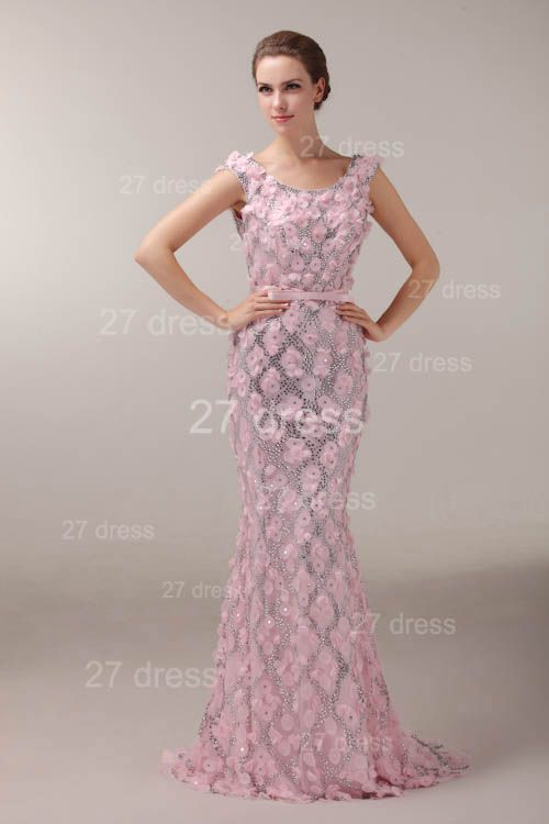 Pink Mermaid Prom Gowns 2020 Sash Bowknot Evening Dresses with Beadings