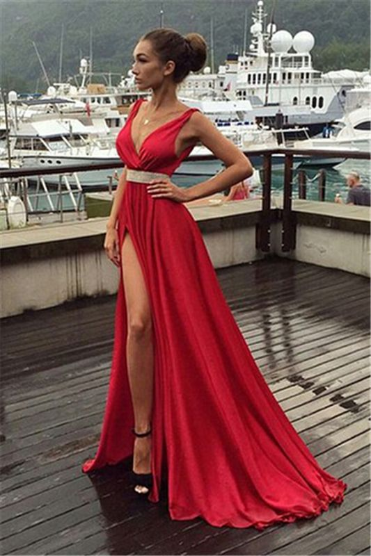 Sexy Red V-Neck Sleeveless 2020 prom Dress Long With Front SPlit BA3374