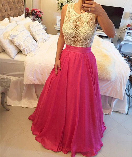 Dramatic Jewel Sleeveless A-line Prom Dress 2020 Pearls Floor-length BT0