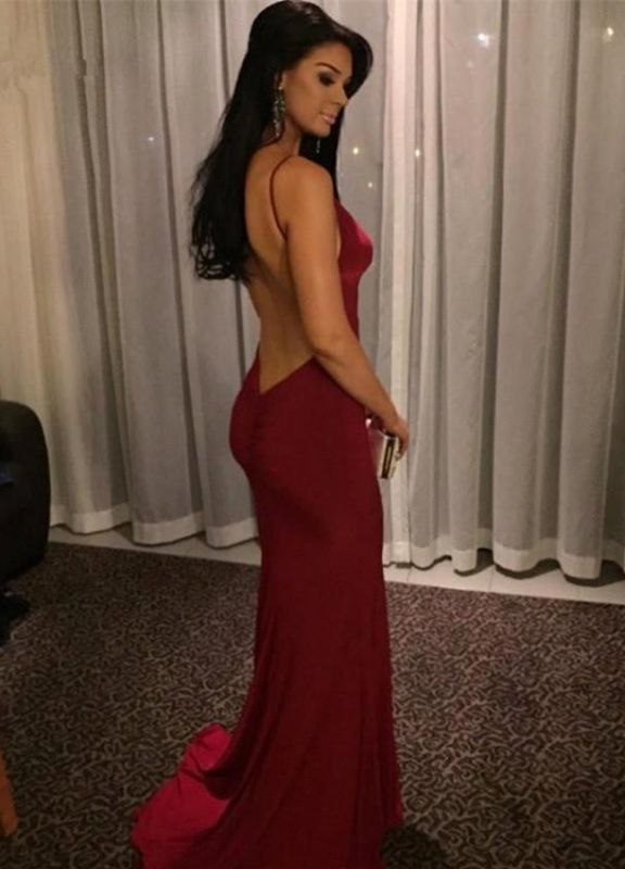 Sexy Burgundy V-neck Prom Dresses 2020 Mermaid Long Evening Party Gown BK0