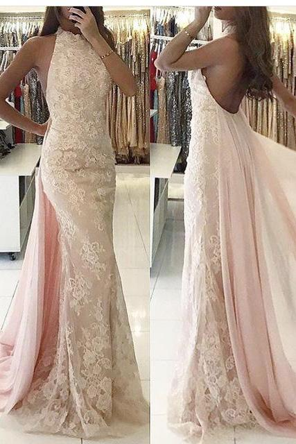Glamorous Sleeveless Backless Evening Dress 2020 Lace Ruffles Party Gowns