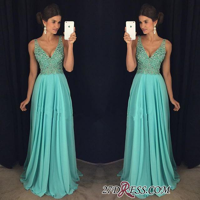 Long Beadings V-Neck Chiffon Elegant Prom Dress AP0