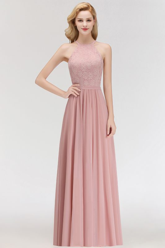 Newest Pink Lace Long A-line Bridesmaid Dress | Floor-length Dress