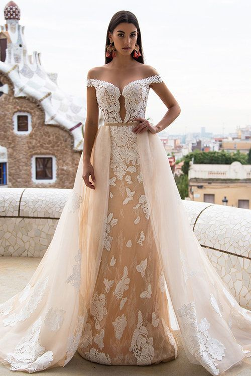 Gorgeous Off-the-Shoulder 2020 Wedding Dresses | Princess Overskirt Bridal Gowns On Sale