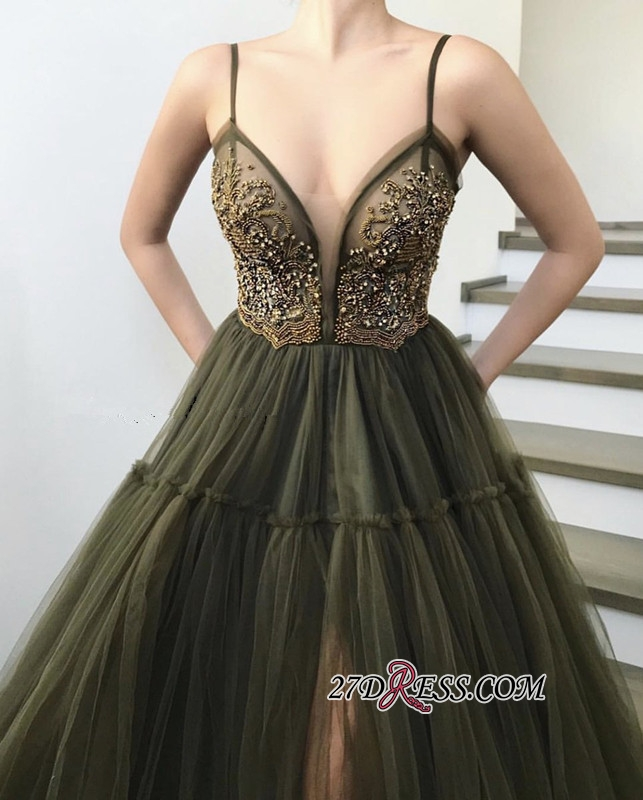 Sexy Spaghetti-straps A-Line Appliques Party Dresses   Sleeveless Beading Side Slit Tulle Evening Dresses BC1424
