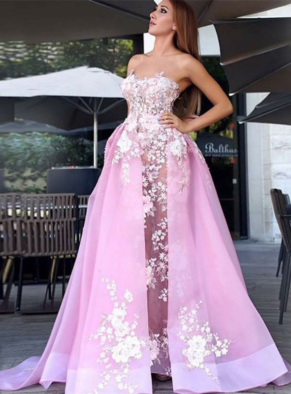 Charming Strapless Sleeveless Prom Dress   Lace Appliques 2020 Pink Evening Gowns