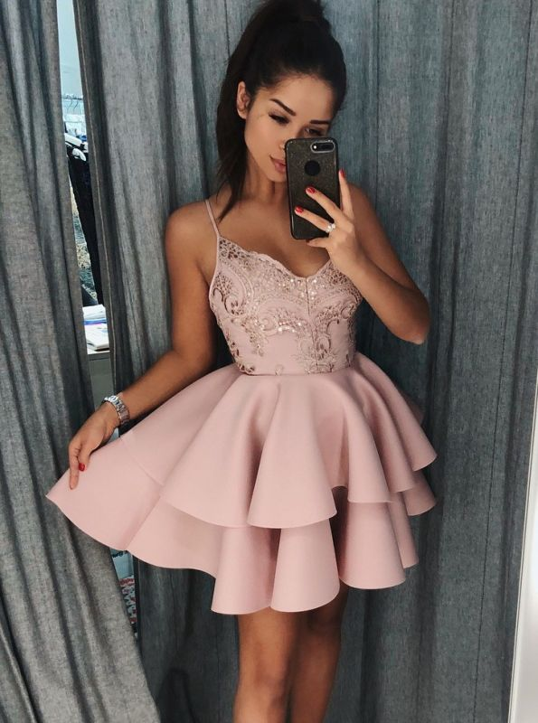 Elegant Spaghetti-Straps Sequins Homecoming Dress | 2020 Short Homecoming Dresses