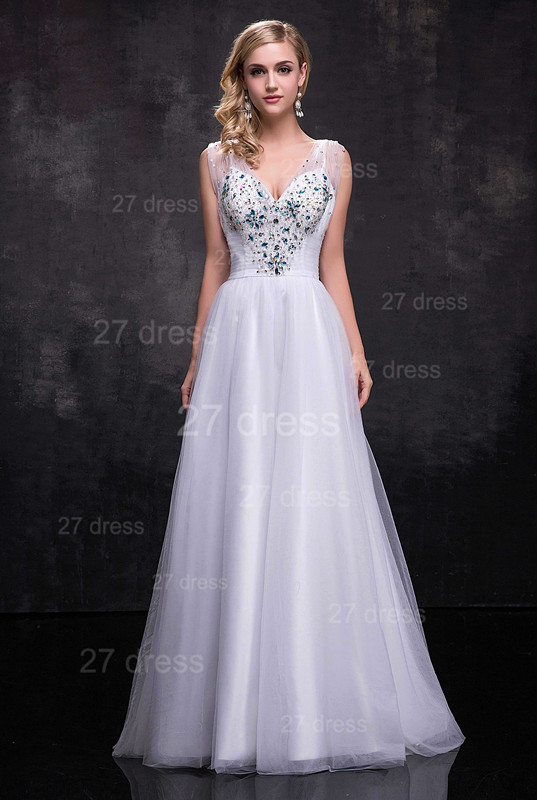 Newest Straps Tulle A-line Wedding Dress Crystals Zipper