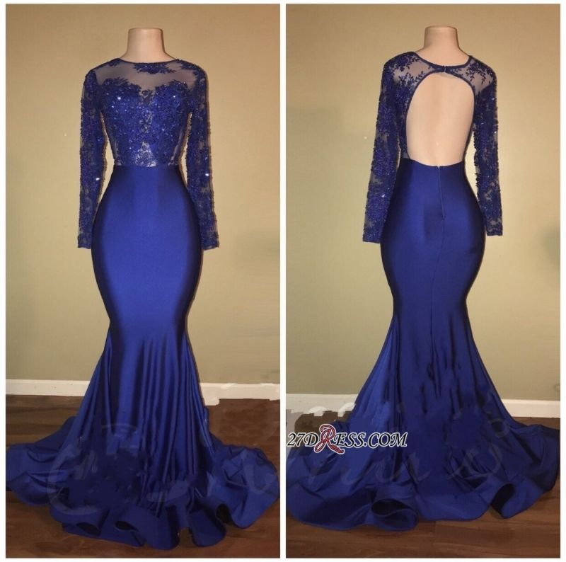 Royal blue mermaid prom dress, 2020 long evening gowns RM0