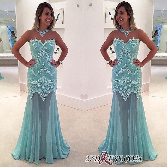 Sexy Appliques Sweep-Train High-Neck Mermaid Sleeveless Lace Prom Dress