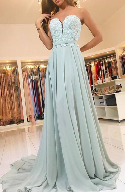 Elegant Sweetheart Lace 2020 Evening Dress Long Chiffon Prom Dress