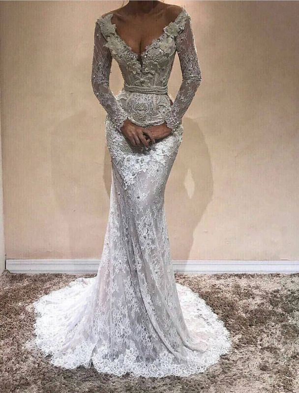 Delicate Lace Long Sleeve V-neck Sweep-Train Evening Gown   2020 Evening Gown BA9809