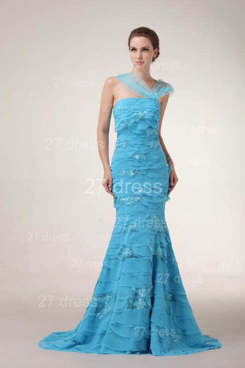 Gorgeous Blue Evening Dresses 2020 Tiered Sequined Mermaid Prom Gowns