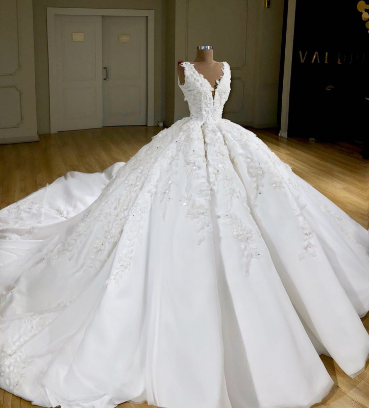 Elegant V-Neck Sleeveless Wedding Gown | 2020 Lace Applique Ball Gown Bridal Dress