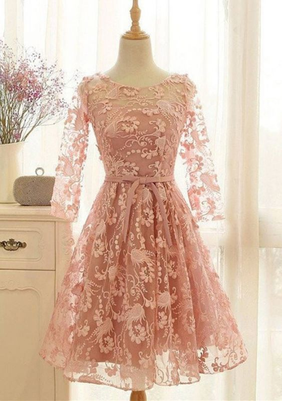 Lovely Long-Sleeve Pink Homecoming Dress | 2020 Lace Short Prom Party Gowns