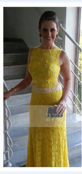 Floor-length Sheath Prom Dresses Evening Gowns with Yellow Lace Appliques Pearls 2020 Jewel Sleeveless Sequins