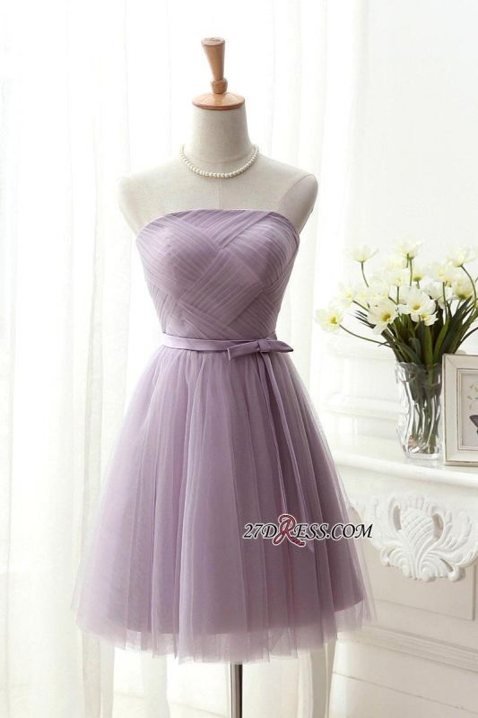 2020 Short Romantic Strapless Ruched-Top With Belt Homecoming Dresses