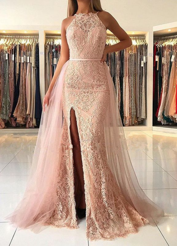 Elegant Halter Lace Evening Gowns | 2020 Ruffles Prom Dress With Slit