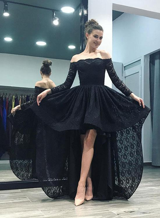 Sexy Black Lace Hi-Lo Prom Dress 2020 Long Sleeve Party Gowns