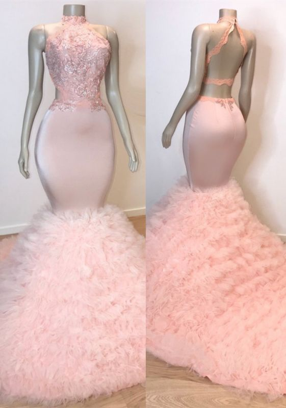 Chic Halter Pink Mermaid Prom Dresses | 2020 Lace Tulle Evening Gowns BC0983