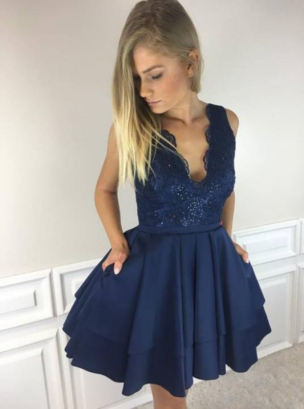 Gorgeous Sleeveless Short Homecoming Dresses | 2020 Lace Layers Short Dresses