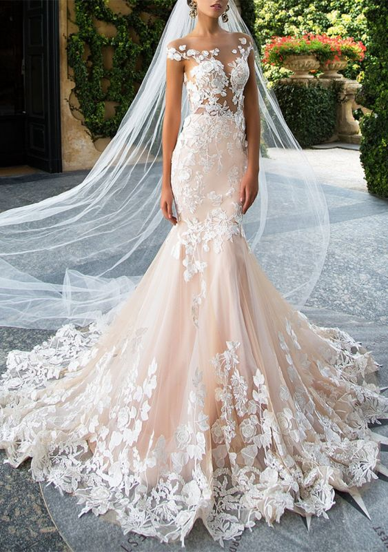 Glamorous Cap Sleeve Wedding Dress With Lace Appliques | 2020 Mermaid Bridal Gowns BA4325