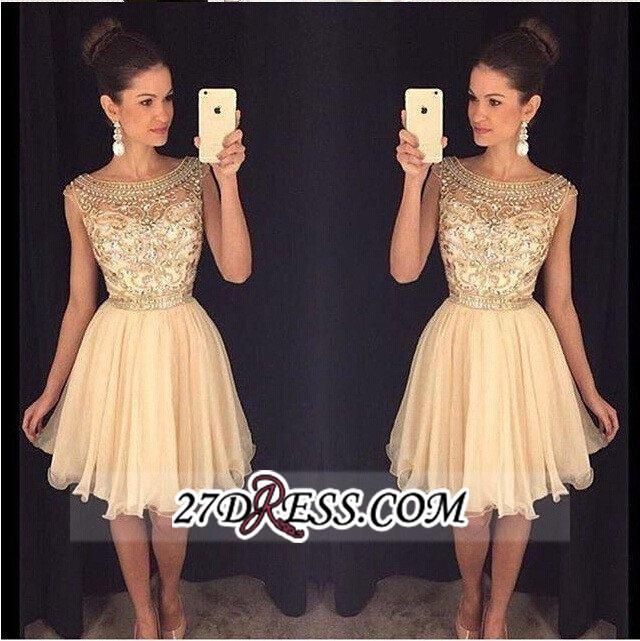 Luxury Gold Capped-Sleeves Beaded Bateau-Neck Short Homecoming Dresses AP0