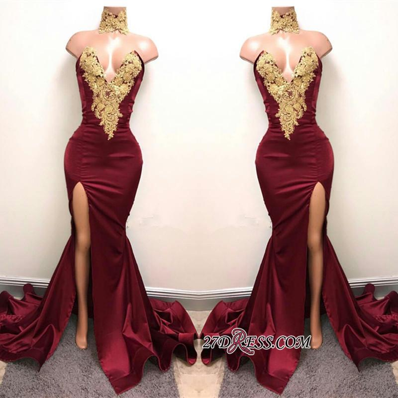 Burgundy Lace-Appliques Sexy Mermaid High-Neck Front-Split Prom Dress SP0326