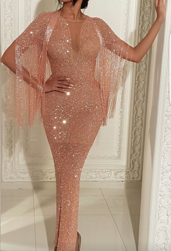 Sexy Short Sleeves Deep V Neck Floor-length Prom Dress   2020 Mermaid Sequins Tassels Evening Gown With Split