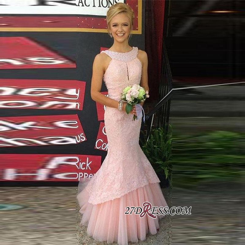 Sleeveless Pink Pearls Newest Mermaid Long Lace Prom Dress
