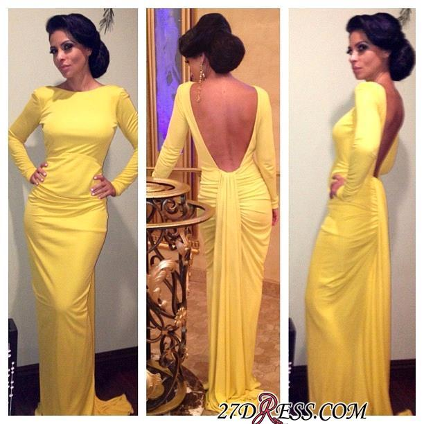 Sheath Long-Sleeve Open-Back Ruched Yellow Evening Dress