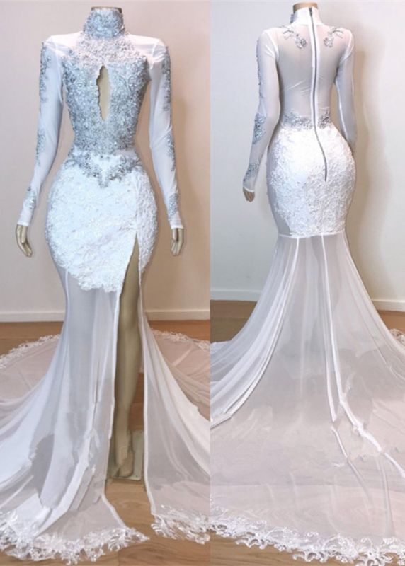 Stunning White Lace Long Sleeve Prom Dress | 2020 Mermaid Sheer Evening Gowns With Slit BC1180