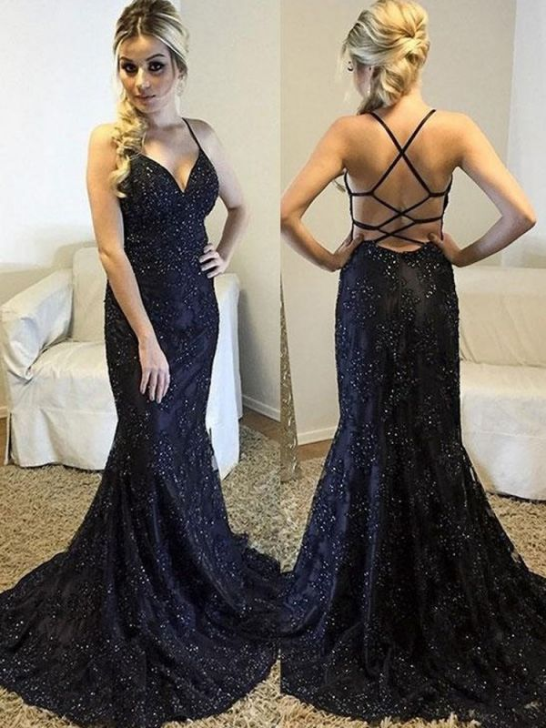 New Arrival Cross Straps Mermaid Sleeveless Prom Dress | Halter Sequins Sweep Train Evening Gown BC0718