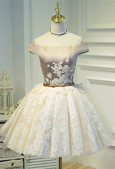 Lovely Off-the-Shoulder Homecoming Dress | 2020 Short Lace Party Dress