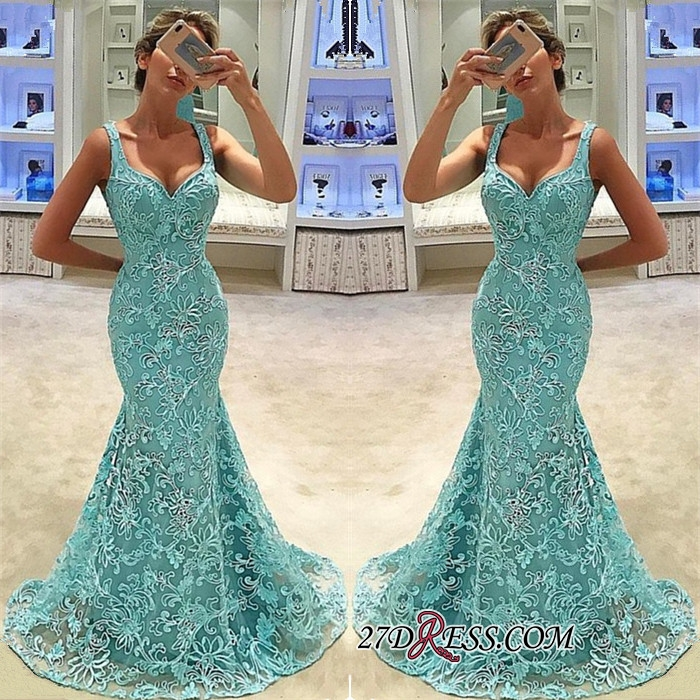 Elegant Lace Mermaid Prom Dresses | Straps Long Bridal Gowns
