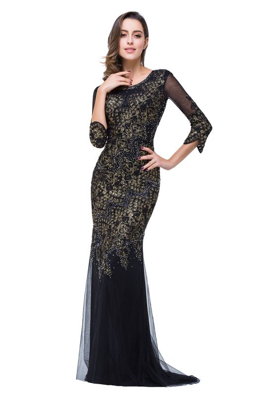 Sexy Black 3/4 Long Sleeve Mother Of the Bride Dress 2020 Mermaid With Appliques