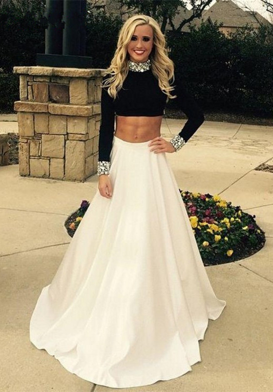 Gorgeous Two Pieces High Neck Prom Dresses 2020 Black and White