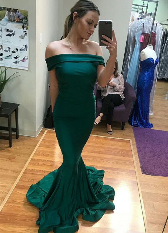 Sexy Green Off-the-Shoulder Evening Gowns | Floor Length Mermaid Prom Dress With Zipper
