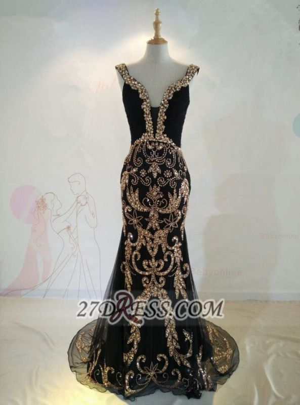 Sexy Black V-Neck Mermaid Prom Dress Beadings Crystals Sweep Train Evening Gowns