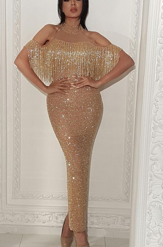 Fashion Off-The-Shoulder Mermaid Halter Sequins Evening Gown | 2020 Tassels Long Prom Dress On Sale BC0657