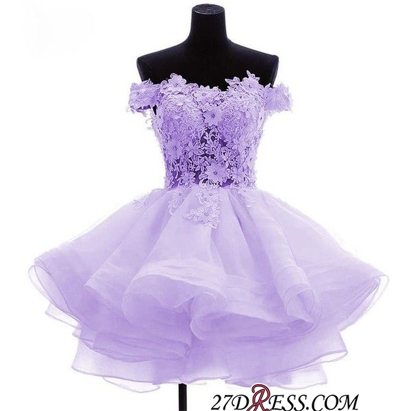 Short Flowers Ruffles Cute Off-the-Shoulder Homecoming Dress