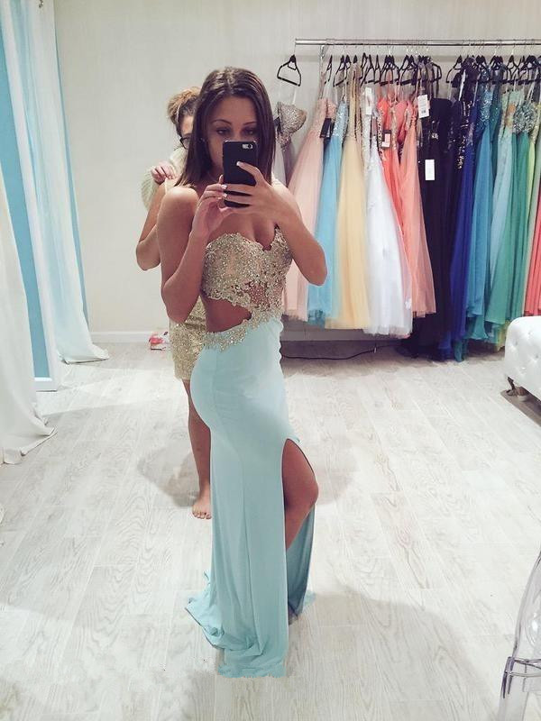 Sexy Sweetheart Sleeveless Prom Dress Front Split With Beadings Appliques