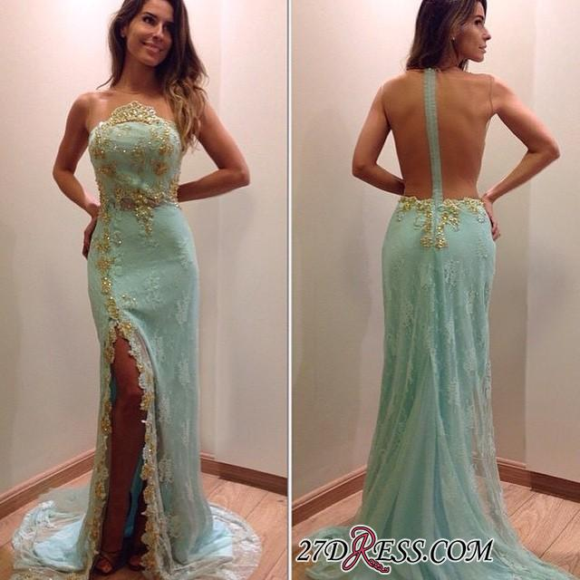 2020 Lace Stunning Zipper Sleeveless Appliques Split Evening Dress