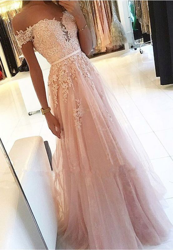 Charming Off-the-Shoulder Lace Prom Dresses | 2020 Tulle Long Evening Gowns BC0418