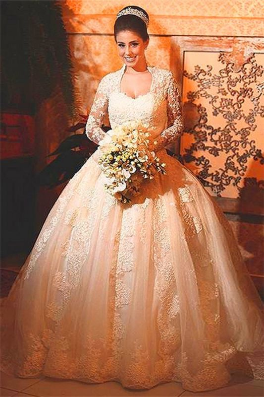 Modern Lace Long Sleeve 2020 Wedding Dress Ball Gown Button Zipper Back