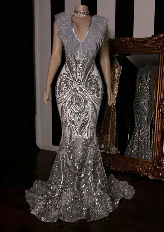 Chic Silver Sequins Mermaid Prom Dresses   2020 V-Neck Long Evening Gowns With Feather BC1554