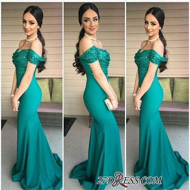 Dark-Green Sequins-Top Off-the-Shoulder Mermaid Evening Gowns BA3962